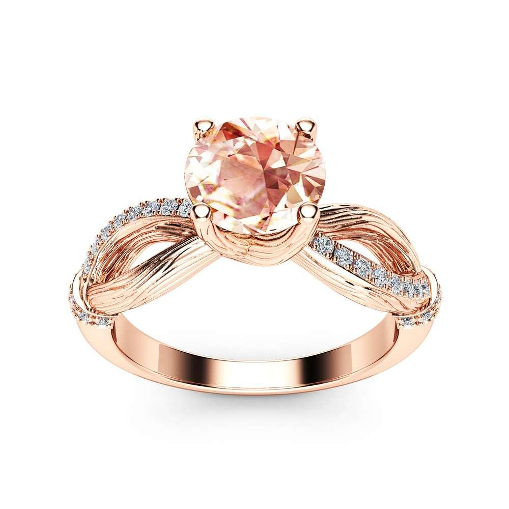 Round Morganite Twig Engagement Ring 14K Rose Gold Twig Ring Morganite Branch Engagement Ring