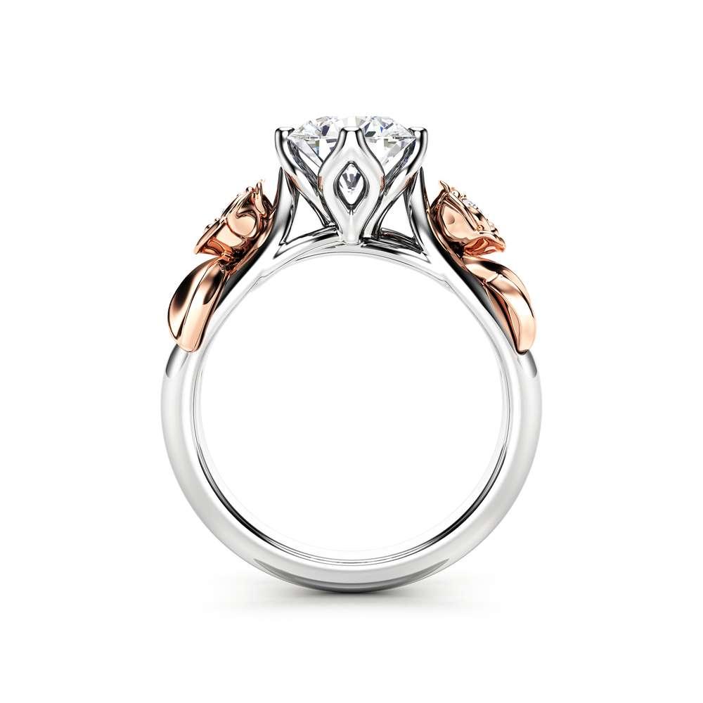 Moissanite Engagement Ring White Gold Ring Rose Engagement Ring Moissanite Gold Ring