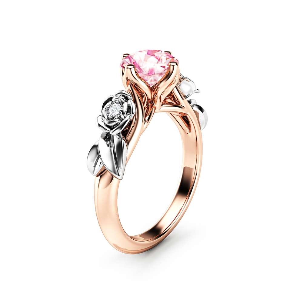 Pink Moissanite Engagement Ring Unique Rose Gold Engagement Ring