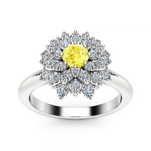Yellow Diamond Flower Engagement Ring 14K White Gold Fancy Diamond Ring Unique Yellow Diamond Engagement Ring