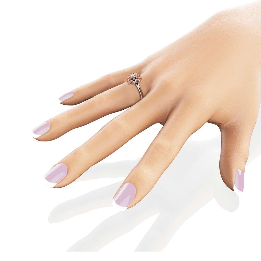 Diamond Flower Engagement Ring 14K Two Tone Gold Flower Ring Unique Diamond Engagement Ring