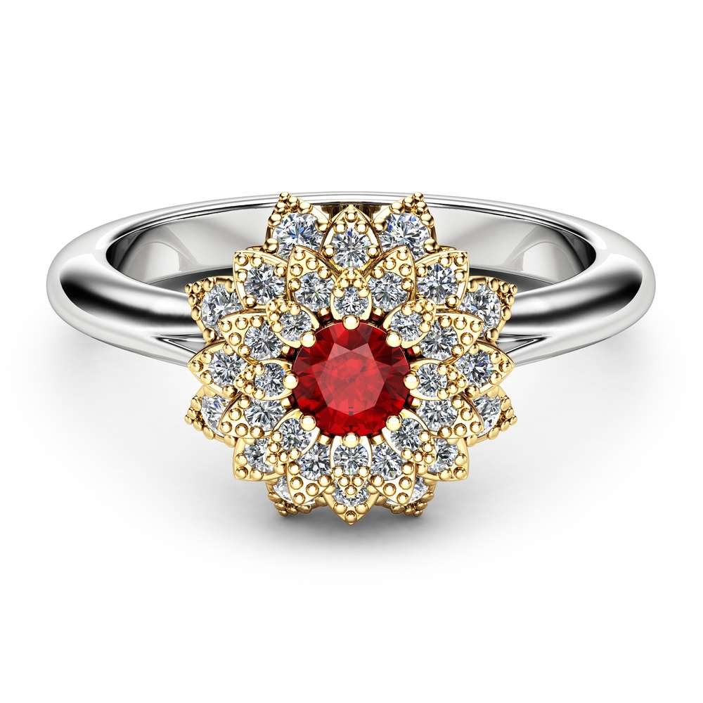 Ruby Halo Ring Ruby Engagement Ring Two Tone Gold Flower Ring Ruby Unique Engagement Ring