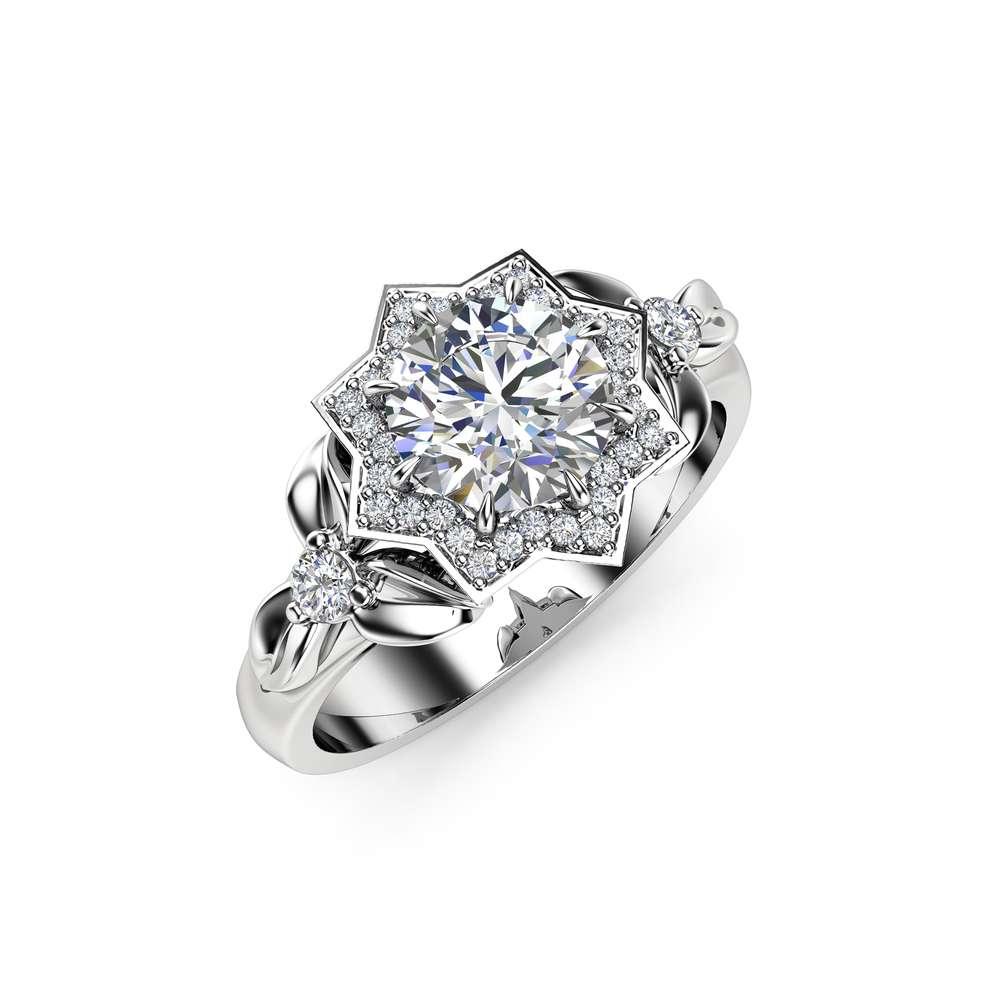 Halo Diamond Engagement Ring 14K White Gold Flower Ring 0.75Ct Natural Diamond Engagement Ring