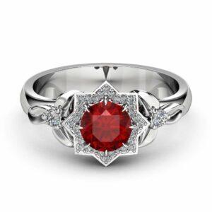 Halo Ruby Engagement Ring 14K White Gold Flower Ring 0.80CT Natural Ruby Engagement Ring