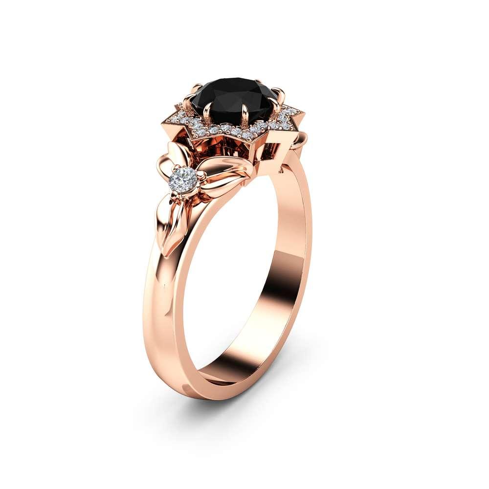 Black Diamond Halo Engagement Ring 14K Rose Gold Flower