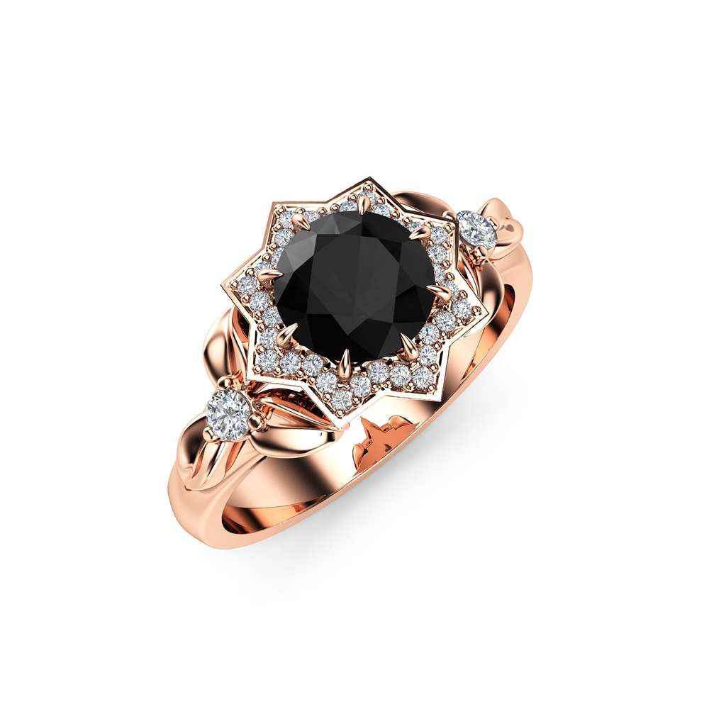 Black Diamond Halo Engagement Ring 14K Rose Gold Flower Ring 0.80CT Natural Diamond Engagement Ring