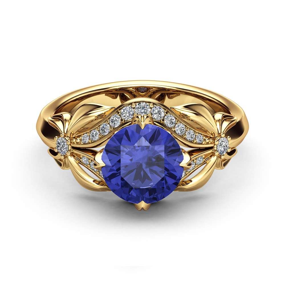 Bluish Violet Tanzanite Engagement Ring Natural Tanzanite Ring 14K Yellow Gold  Unique Engagement Ring