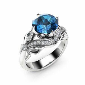 London Blue Topaz Engagement Ring 14K White Gold 2 Carat Topaz Ring Unique Leaves Engagement Ring