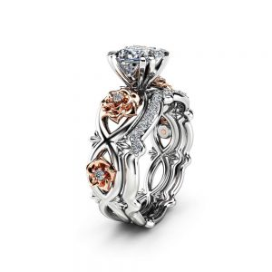 Flower Diamond Engagement Ring Set Conflict Free Princess Diamond Ring Set 14K Two Tone Gold Matching Rings