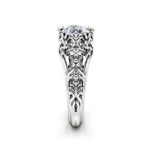 Unique Moissanite Engagement Ring 14K White Gold Filigree Promise Ring