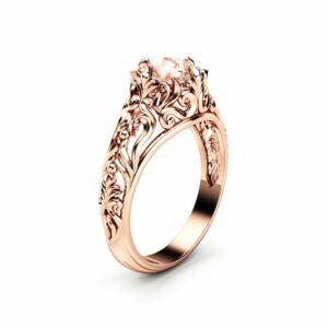Peach Pink Morganite Engagement Ring 14K Rose Gold Ring Unique Filigree Engagement Ring