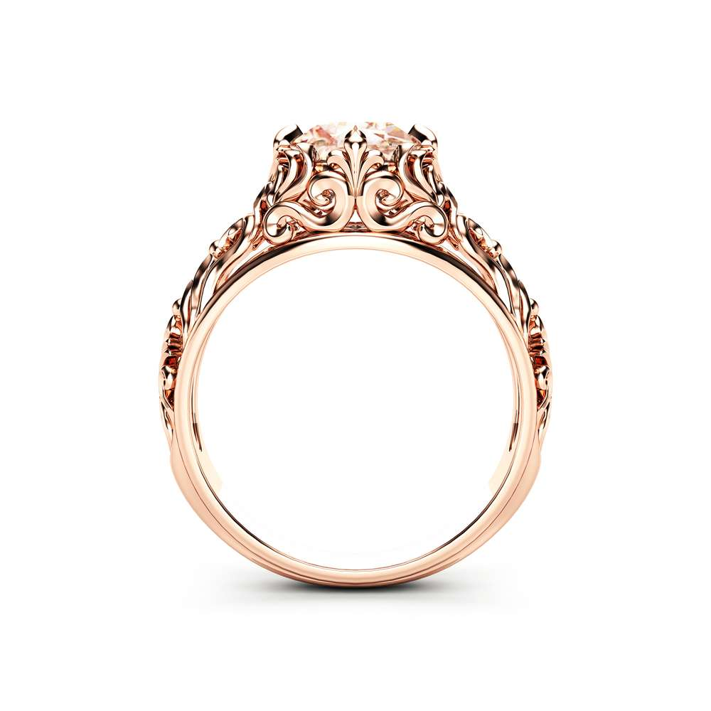 Peach Pink Morganite Engagement Ring 14K Rose Gold Ring Unique Filigree Engagement Ring