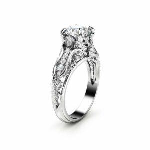 Unique Art Deco Engagement Ring 14K White Gold Art Deco Ring Unique Moissanite Engagement Ring