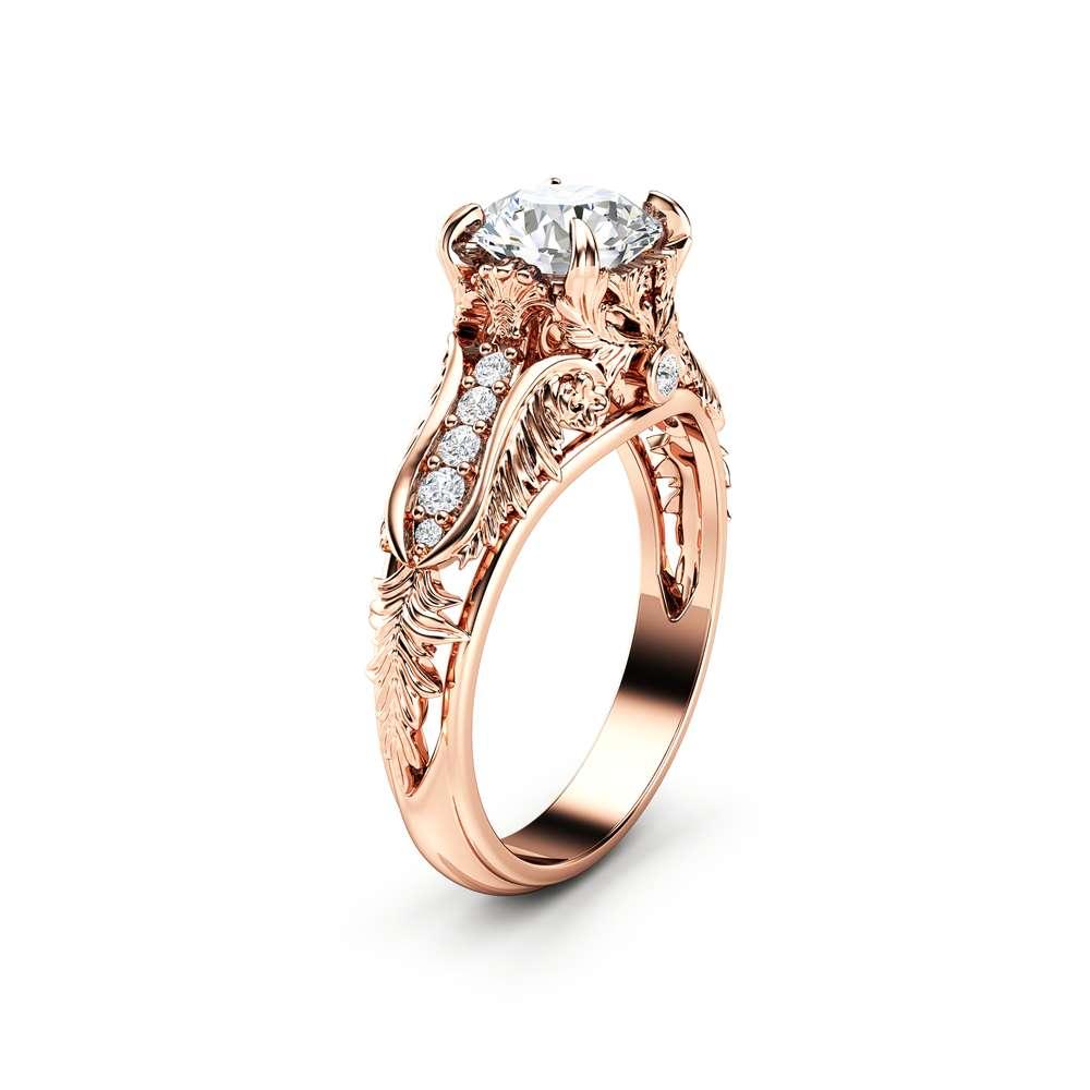 Unique Art Deco Engagement Ring 14K Rose Gold Art Deco Ring Unique Moissanite Engagement Ring