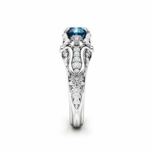 Unique Blue Diamond Engagement Ring Unique Art Deco Engagement Ring 14K White Gold Art Deco Ring Anniversary Gift