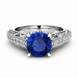 Vintage Engagement Ring Blue Sapphire & Side Diamonds Ring 14K White Gold Vintage Ring