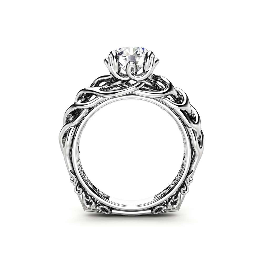 Braided Engagement Ring 18K White Gold Celtic Ring Solitaire Moissanite Engagement Ring Anniversary Gift