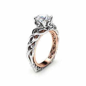 Diamond Braided Engagement Ring 18K Two Tone Gold Celtic Ring Solitaire Diamond Engagement Ring Anniversary Gift