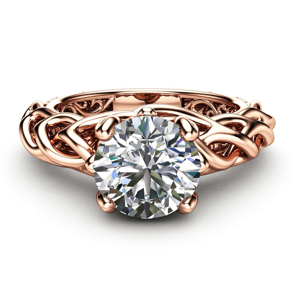 Braided Engagement Ring 18K Rose Gold Celtic Ring Solitaire Moissanite Engagement Ring Anniversary Gift