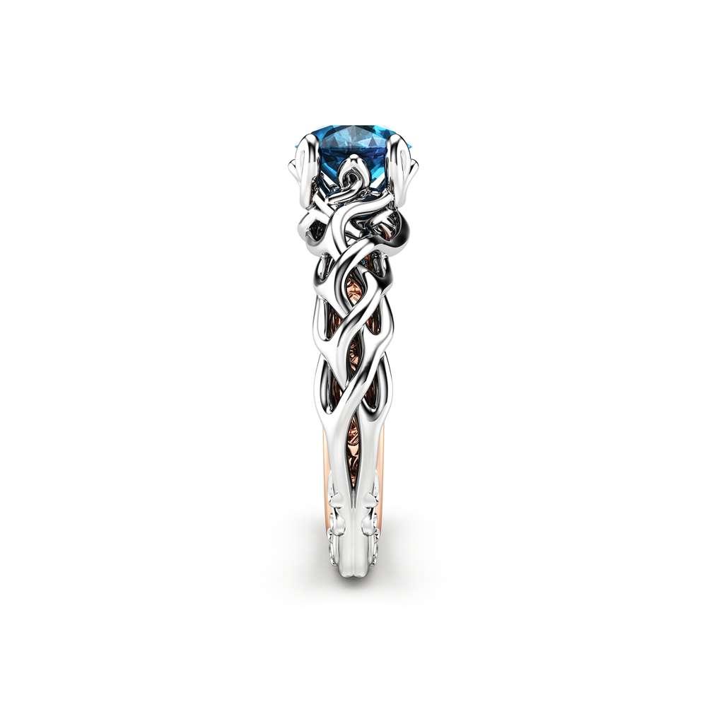 Diamond Braided Engagement Ring 18K Two Tone Gold Celtic Ring Solitaire Blue Diamond Engagement Ring Anniversary Gift
