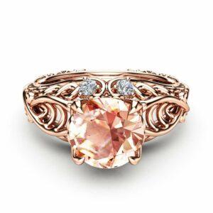 Celtic Engagement Ring 14K Rose Gold Celtic Ring Unique Morganite Engagement Ring Anniversary Gift