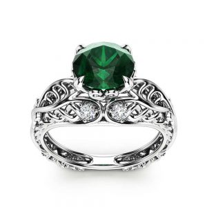 Celtic Engagement Ring 14K White Gold Celtic Ring Unique Emerald Engagement Ring May Birthstone
