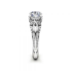 Moissanite Antique Engagement Ring Unusual Moissanite Anniversary Ring 14K White Gold Ring