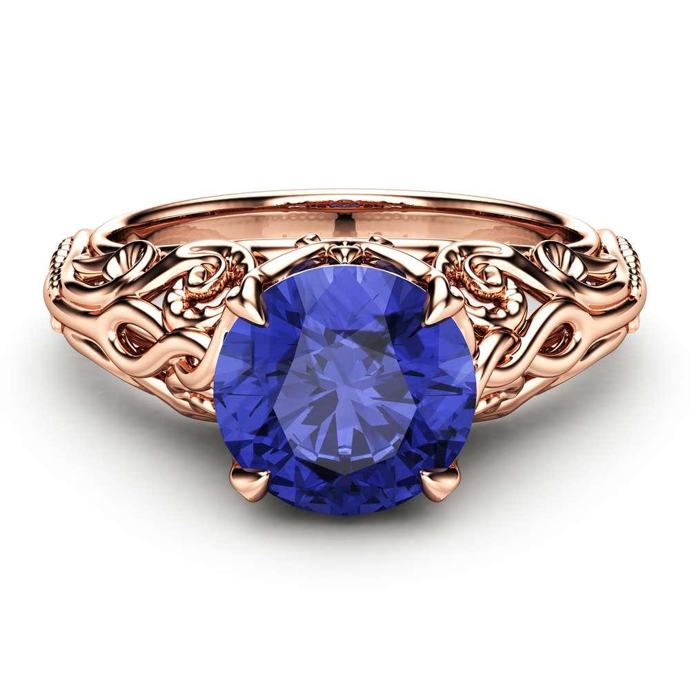 Bluish Violet Tanzanite Engagement Ring 14K Rose Gold Ring Unique Natural Tanzanite Ring