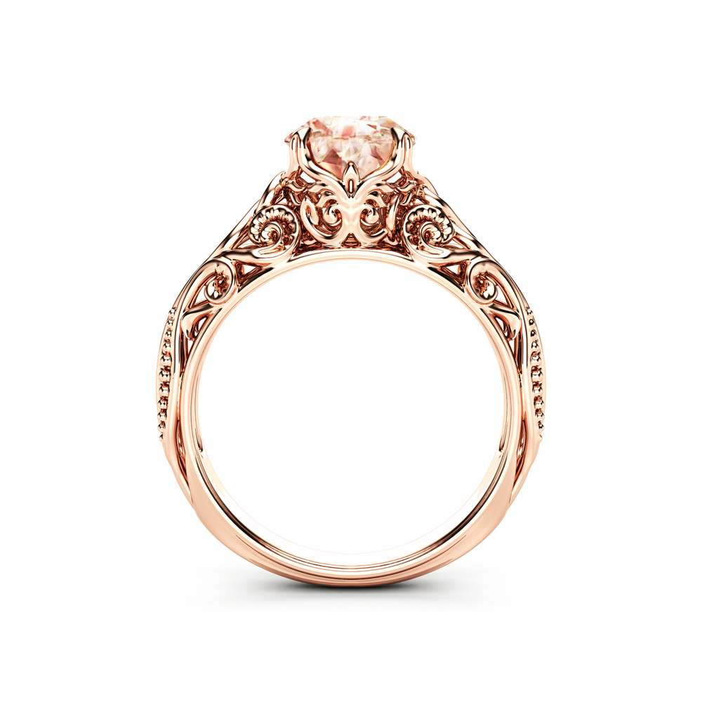 Antique Peach Pink Morganite Engagement Ring 14K Rose Gold Anniversary Ring For Her