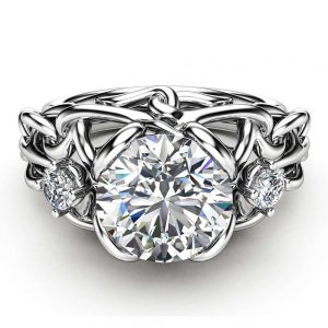 Celtic Engagement Ring 14K White Gold Braided Ring Unique Moissanite Engagement Ring Gift for Her