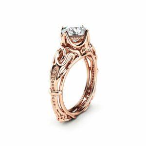 Vintage Engagement Ring 14K Rose Gold Filigree Ring Solitaire Moissanite Engagement Ring Gift for Her