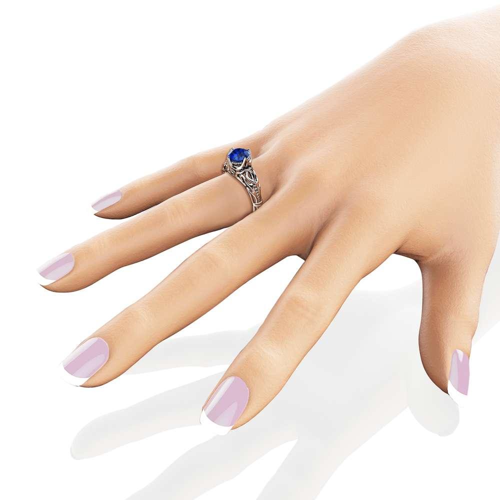 Vintage Engagement Ring 14K White Gold Filigree Ring Blue Sapphire Engagement Ring September Birthstone