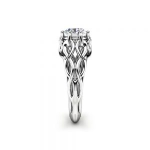Celtic Engagement Ring 14K White Gold Braided Ring Solitaire Moissanite Engagement Ring Anniversary Gift