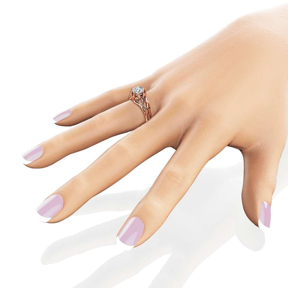 Celtic Engagement Ring 14K Rose Gold Braided Ring Solitaire Moissanite Engagement Ring Anniversary Gift