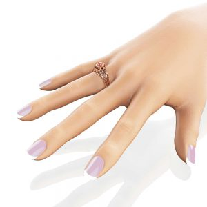 Celtic Engagement Ring 14K Rose Gold Braided Ring Solitaire Morganite Engagement Ring Anniversary Gift