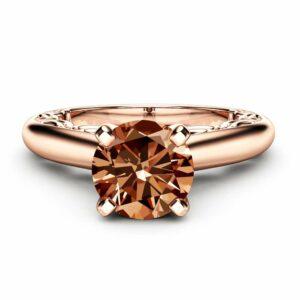 Fancy Brown Diamond Engagement Ring 14K Rose Gold Ring Edwardian Natural Chocolate Diamond Ring