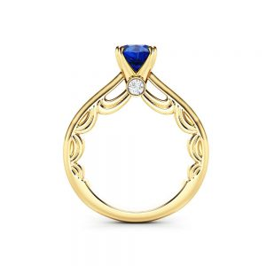 Edwardian Sapphire Engagement Ring 14K Yellow Gold Ring Natural Sapphire Promise Ring Anniversary Gift