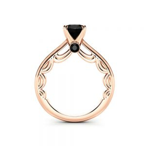 Natural Black Diamond Promise Ring 14K Rose Gold Ring Conflict Free Black Diamond Engagement Ring