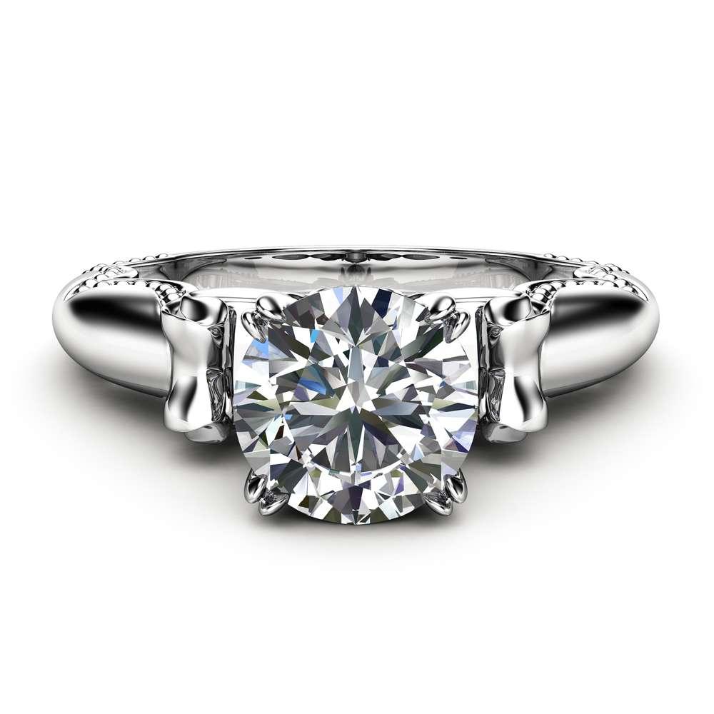 Antique Moissanite Engagement Ring 14K White Gold Milgrain Ring Promise Ring Unique Anniversary Ring