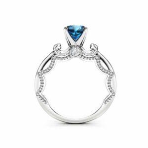 Blue Diamond Promise Ring Unique 14K White Gold Ring Antique Diamond Engagement Ring
