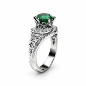 Emerald Halo Engagement Ring 14K White Gold Filigree Ring Natural Emerald Engagement Ring