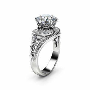 Moissanite Halo Engagement Ring 14K White Gold Filigree Ring 2 Carat Moissanite Engagement Ring