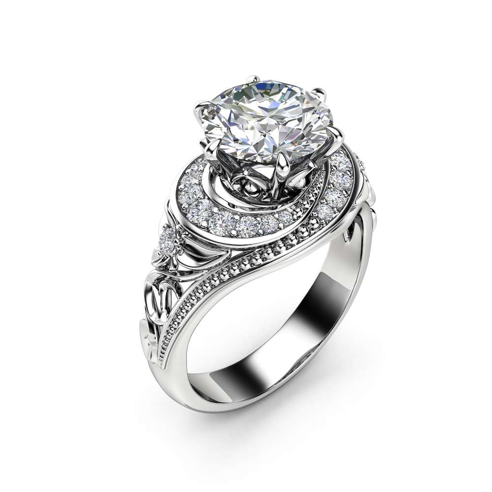 Moissanite Halo Engagement Ring 14K White Gold Filigree Ring 2 Carat Moissanite Engagement Ring