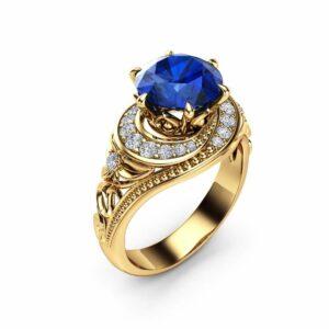 Blue Sapphire Halo Engagement Ring 14K Yellow Gold Filigree Ring Natural Sapphire Engagement Ring