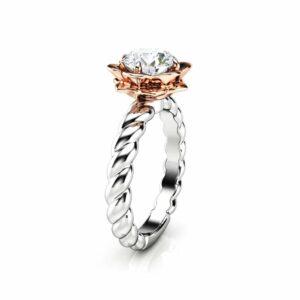Moissanite Engagement Ring Flower Ring 14K Gold Ring Twist Ring Engagement Ring