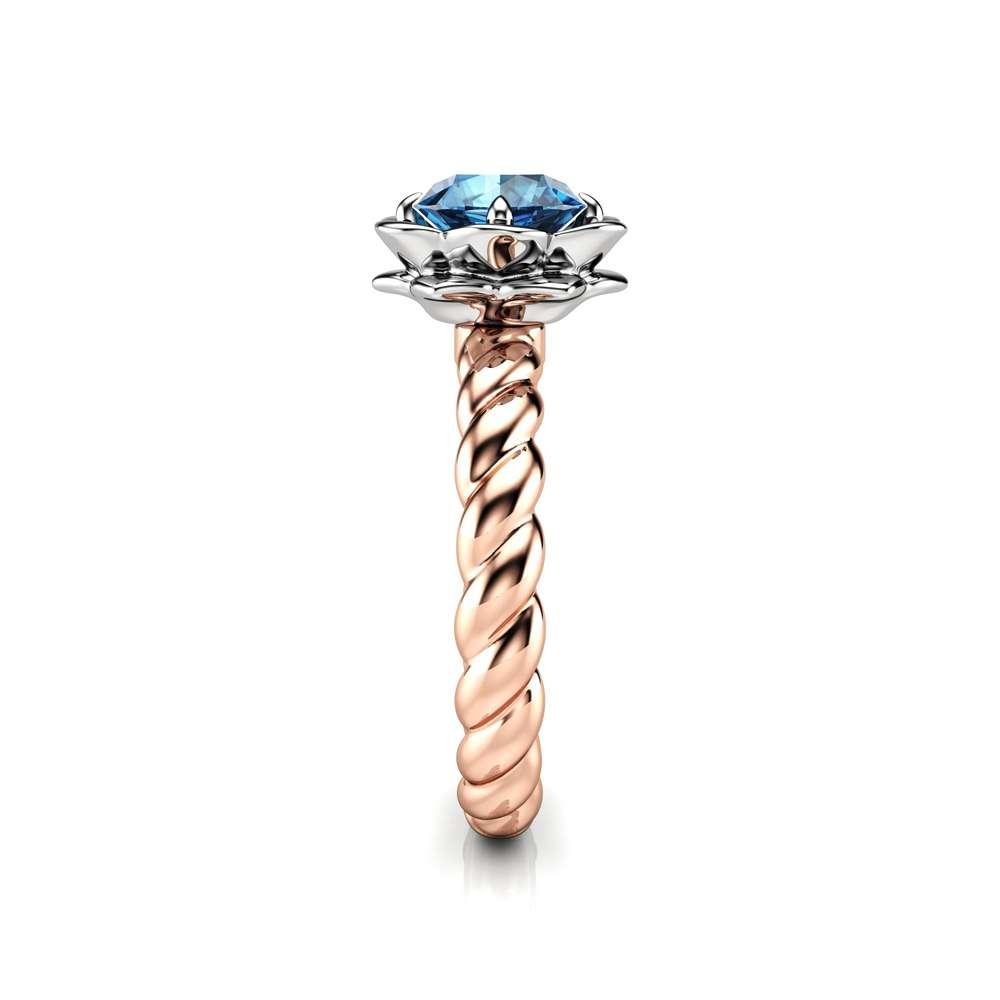 Moissanite Engagement Ring Flower Ring 14K Gold Ring Twist Ring Solitaire Engagement Ring