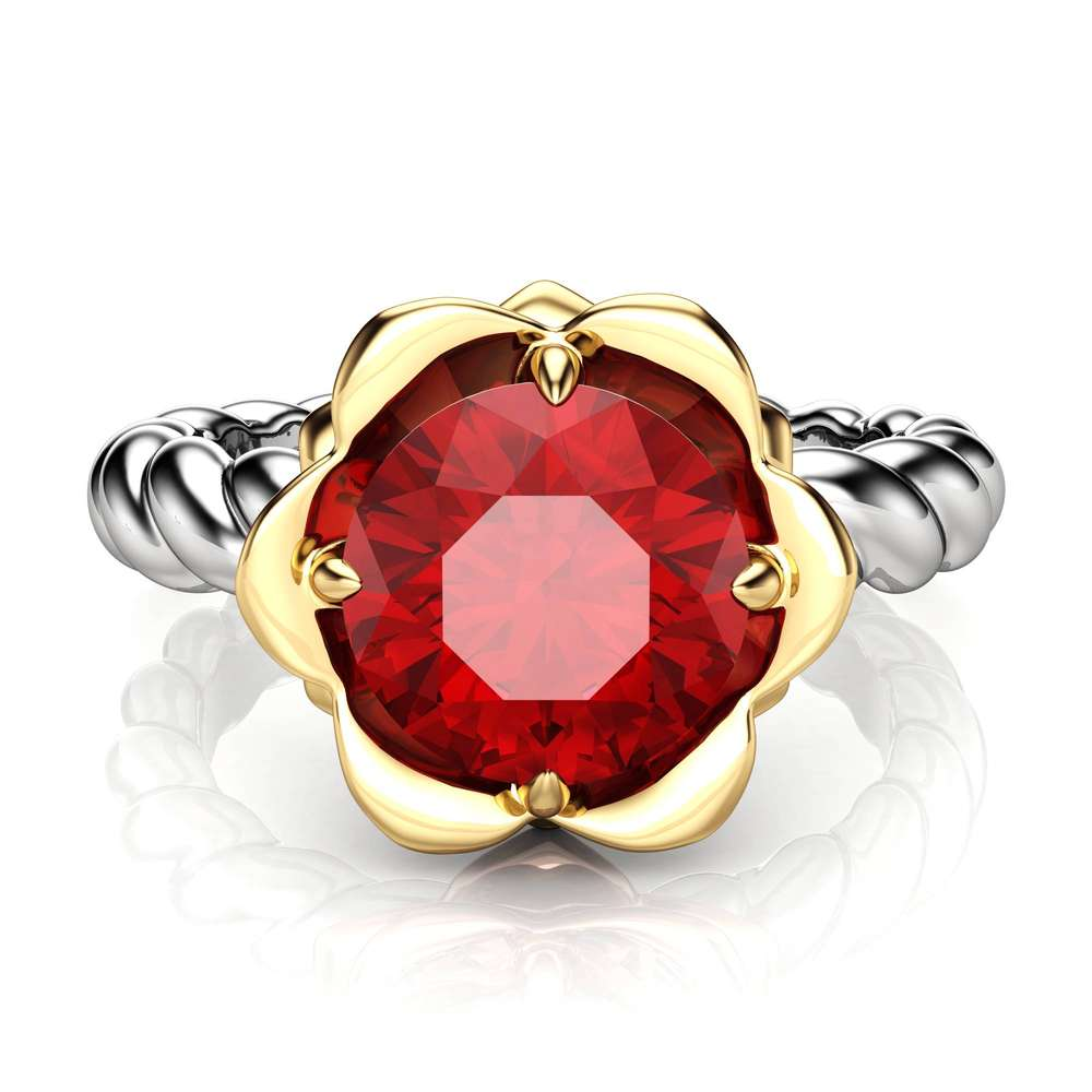 Unique Ruby Engagement Ring Flower Ring 14K Gold Ring Twist Ring Solitaire Engagement Ring
