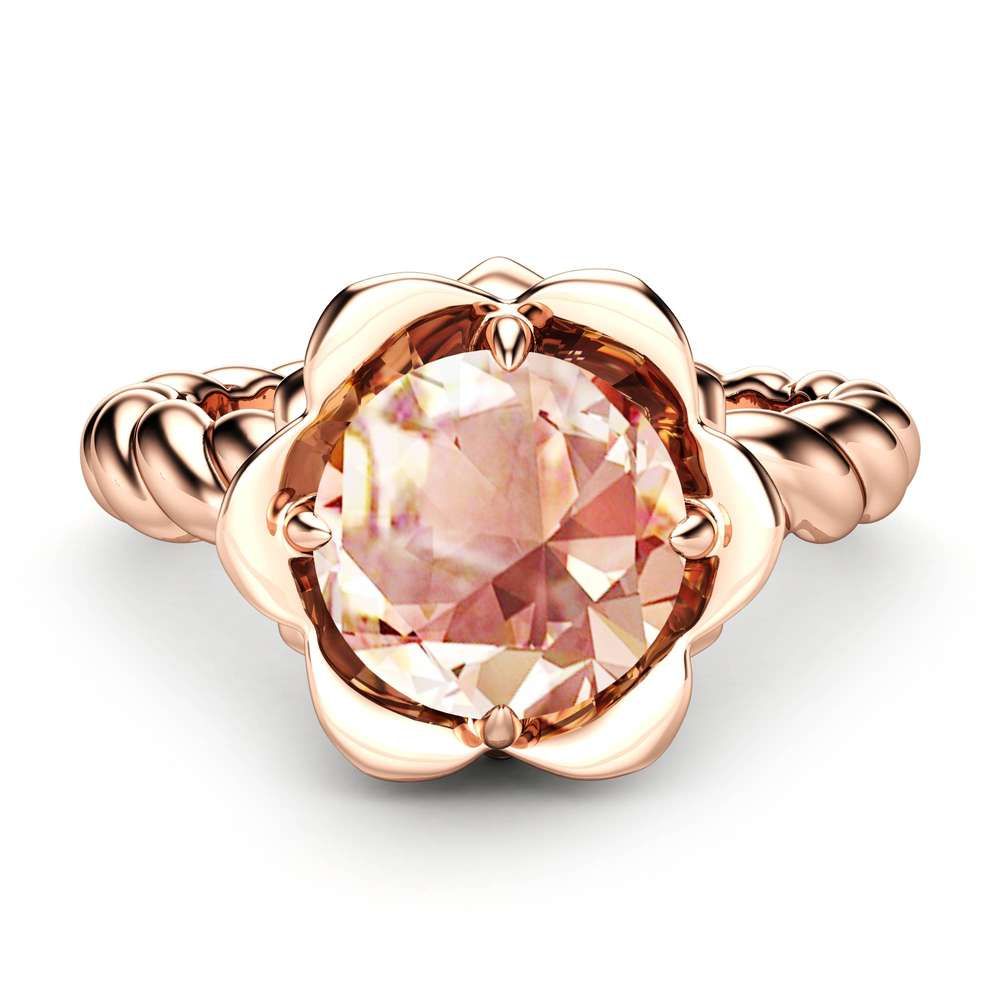 Morganite Engagement Ring Flower Ring 14K Rose Gold Ring Twist Ring Solitaire Engagement Ring