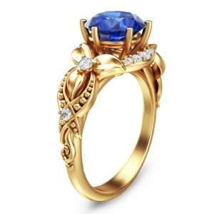 Sapphire Engagement Ring Blue Sapphire Ring Unique Engagement Ring Vintage Engagement Ring