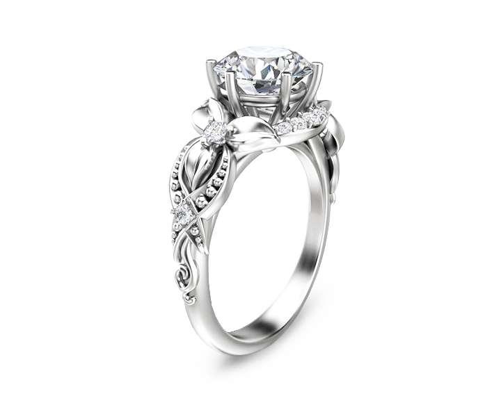 Floral 2ct Moissanite Engagement Ring 14K White Gold Engagement Ring Vintage Styled Moissanite Ring